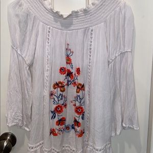 White L/S Dress, Floral